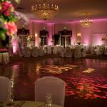 Up-Lighting, Monogram Projection, Centerpiece Pin Spotting and Dance-floor color wash Photo Courtesy of Synergetic Consulting